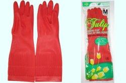 Găng tay cao su gia dụng dài màu đỏ Tulip