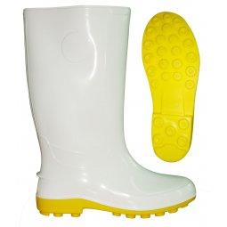 Ủng chống nước PVC xuất khẩu  màu trắng đế vàng