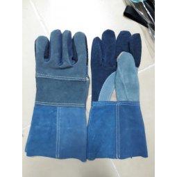 Găng tay da hàn nối màu xanh