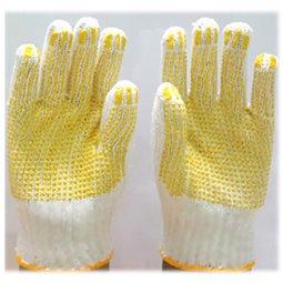 Găng tay len hạt nhựa vàng PVC