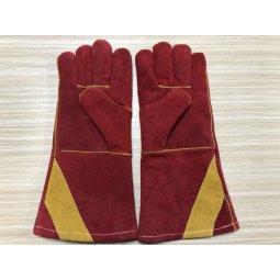 Găng tay da hàn cao cấp 2 lớp màu đỏ 35cm (xuất khẩu)