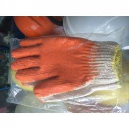 Găng tay len phủ cao su màu cam
