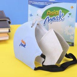 Khẩu trang than hoạt tính 4 lớp Asia Mask ( xé dán, xanh nhạt)