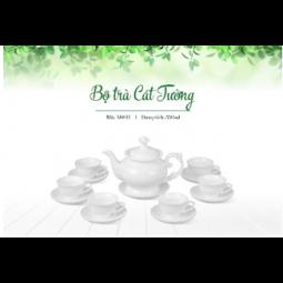 Bộ ấm trà Bát Tràng dáng Cát Tường Hàng trắng
