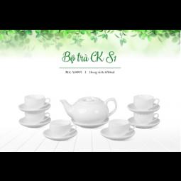 Bộ ấm trà Bát Tràng dáng CK nắp bẹt  Size nhỏ ( Hàng trắng )