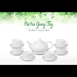 Bộ ấm trà Bát Tràng dáng Giang Tây Hàng trắng
